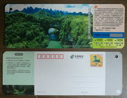 Natural Rock Erosion Bridge,karst Cave National Geopark,CN 14 Tourism In Guangxi Small Size Ticket Pre-stamped Card - Bridges