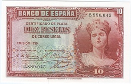 España - Spain 10 Pesetas 1935 Pk 86 A.1 Sin Serie Ref 680-1 UNC - [ 2] 1931-1936 : República