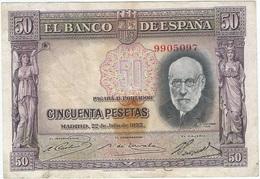 España - Spain 50 Pesetas 22-7-1935 Pk 88 1 Sin Serie Ref 682-2 - [ 2] 1931-1936 : República