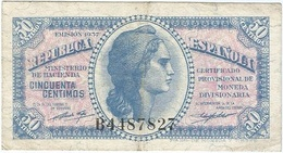España - Spain 50 Céntimos 1937 Pk 93 1 Ref 683-3 - [ 3] 1936-1975 : Régimen De Franco