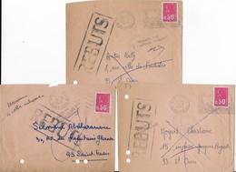 """3 Lettres 1971 Affranchies Par 0,50 F Marianne De Bequet Avec Cachet Manuel """"REBUTS"""" - Postmark Collection (Covers)"""