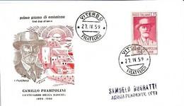 1959 FDC - Edizioni Filagrano - Camillo Prampolini Con Timbro Di Arrivo - Beroemde Personen