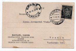 1936 YUGOSLAVIA, MACEDONIA,JUDAICA, SAMUEL HAHN, ZAGREB, CORRESPONDENCE CARD, DJEVDJELIJA TO VRANJE - 1931-1941 Kingdom Of Yugoslavia