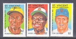 St.Vincent Grenadines  1733-35  **  BASEBALL  HALL OF  FAME - St.Vincent & Grenadines