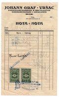 1939 YUGOSLAVIA, SERBIA, VRSAC, JOHANN GRAF, INVOICE ON LETTERHEAD, LIGHT BULB ON COMPANY' STAMP,2 FISKAL STAMPS - 1919-1929 Reino De Los Serbios, Croatas Y Eslovenos
