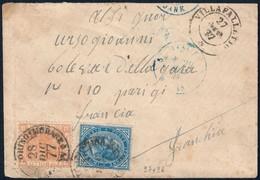BUSTA DA TORINO-MODANE PER PARIGI DEL 28.12.1877 CON V.E.II C. 10 E C. 20 (+ ANNULLO VILLAFALLETTO) - SASSONE 27 / 28 - 1861-78 Victor Emmanuel II.