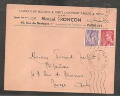 Enveloppe Avec 1,20  Iris Et 30 C Mercure  Oblit PARIS   1945 / Fabrique De Hochets /orfevrerie - 1939-44 Iris