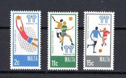 MALTA :  Campionati Mondiali Di Calcio - ARGENTINA '78  - 3 Val.  MNH**  6.06.1978 - Coppa Del Mondo
