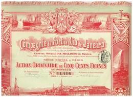 Titre Ancien - Compagnie Du Port De Rio De Janeiro - Société Anonyme - Titre De 1912 - Superbe Déco - Scheepsverkeer