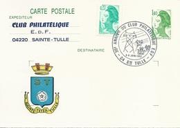 Carte Postale Liberté 1,40 (2186-CP1) Avec Cachet Et Repiquage Club Philatélique E.D.F De Sainte-Tulle - 5/6 Juin 1982 - Postales  Transplantadas (antes 1995)