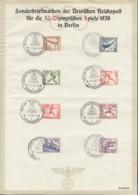 DR 609-616, Auf Sonderblatt: Olympische Spiele Berlin, 8 Verschiedene Sonderstempel Berlin Olympiade 1.-16.8.36 - Briefe U. Dokumente