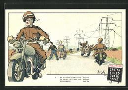 Künstler-AK En Allemagne Occupee, Belgische Soldaten Auf Motorrädern - Militaria