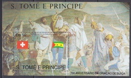 1990Sao Tome And Principe1207/B243Red Cross / 700th Anniversary Swiss Confederation - Rotes Kreuz