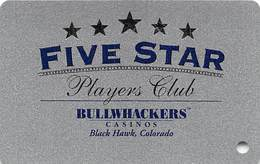 Bullwhackers Casino Black Hawk, CO BLANK Silver Slot Card - Casino Cards