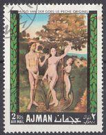 """AJMAN - 1968 - Posta Aerea Yvert 33-D Usato, Riproduzione Del """"Peccato Originale"""" Di Hugo Van Der Goes. - Ajman"""