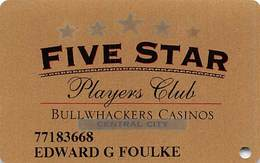 Bullwhackers Casino Black Hawk, CO Gold Slot Card - White Reverse & Location Blacked Out - Casino Cards