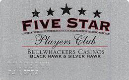 Bullwhackers Casino Black Hawk, CO Silver Slot Card - White Reverse With Text Aligned Left - Casino Cards