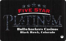 Bullwhackers Casino Black Hawk, CO BLANK PLATINUM Slot Card - ACC Over Mag Stripe - Casino Cards