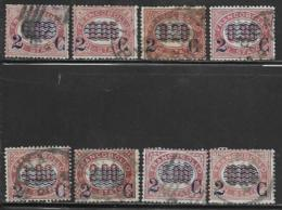 Italy Scott # 37-44 Used Official Stamps Surcharged, 1878, CV$114.50 - 1861-78 Vittorio Emanuele II