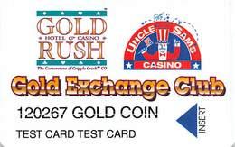 Gold Rush & Uncle Sam Casinos Cripple Creek CO - Large Insert Arrow - Gold Coin Test Card / Slot Card - Tarjetas De Casino
