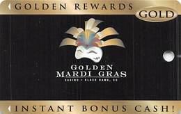 Golden Mardi Gras Casino - Black Hawk, CO - BLANK Slot Card - Last Line Text Starts 'non-transferable...' - Casino Cards