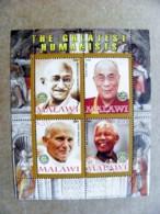 M/s Malawi 2008 The Greatest Humanists Gandhi India Dalai Lama Tibet Pope John Paul II Poland Nelson Mandela Rotary - Famous People