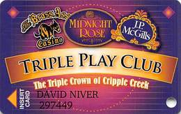 Midnight Rose/JP McGills/Brass Ass Casinos CO - BLANK Triple Play Slot Card - Cpi 2065337 Over Mag Stripe - Casino Cards