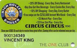 CIRCUS CIRCUS RENO - Special High Roller Bowler Slot Card From 2014 - Casino Cards