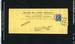 MAURY N° 791: MAZELIN BLEU   - S/BANDE ECRIT PERIODIQUE 2° ECHELON DU 10/12/1947 - Marcophilie (Lettres)