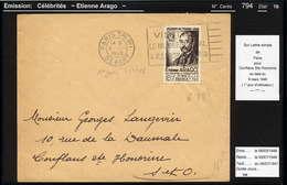 MAURY N° 794: ARAGO   - S/LSI DU 6/3/1948 - 1° JOUR DU TIMBRE - Marcophilie (Lettres)