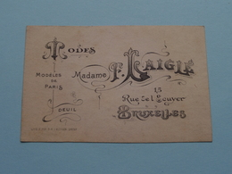 MODES Madame LAIGLE Rue De L'Ecuyer 15 BRUXELLES ( Voir / Zie Foto ) ! - Cartes De Visite