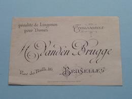 """Lingeries Dames Trousseaux """" M Vanden BRUGGE """" Rue Du Bailli 16 BRUXELLES ( Voir / Zie Foto ) ! - Cartes De Visite"""