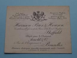 """"""" HARRISON Bros & HOWSON Sheffield """" > Bruxelles ARNOLD & C° ( Voir / Zie Foto ) ! - Cartes De Visite"""