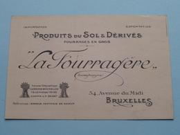 """Produits Du Sol & Dérivés """" LA FOURRAGERE """" Avenue Du Midi 54 Bruxelles ( Voir / Zie Foto ) Fourragère ! - Cartes De Visite"""