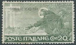1926 SOMALIA SAN FRANCESCO 20 CENT MH * - RB27 - Somalia