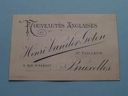 """Nouveautés Anglaises """" Henri VANDER GOTEN Md Tailleur """" Rue D'Assaut 3 Bruxelles ( Voir / Zie Foto )! - Cartes De Visite"""