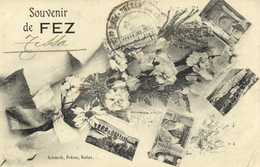 Fantaisie Souvenir De FEZ  Multivues + Cachet Militaire RV Tresor Et Postes Aux Armées FEZ - Fez