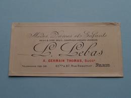 """Modes """" L. LEBAS > A. Germain Thomas Succr. """" Rue Réaumur PARIS ( Voir / Zie Foto ) ! - Cartes De Visite"""