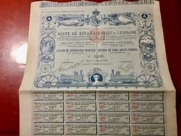 Cie  Des  Chemins  De  Fer  De  L' OUEST  De  L' ESPAGNE ------Action  De 500 Frs - Ferrovie & Tranvie