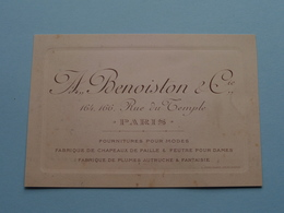 """Modes """" A. BENOISTON & C° """" Rue Du Temple 164-166 PARIS ( Voir / Zie Foto ) ! - Cartes De Visite"""