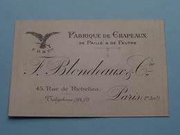 """Fabr. De Chapeaux """" F. BLONDEAUX & Cie """" 45 Rue De Richelieu PARIS ( Voir / Zie Foto ) ! - Cartes De Visite"""