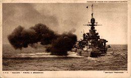 HMS RENOWN FIRING BROADSIDE BRITAIN PREPARED HM ROYAL NAVY PASSED BY PRESS CENSOR Kriegsschiff, Warship - Guerra
