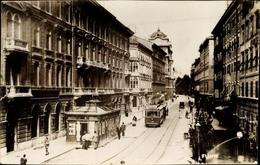 Cp Rijeka Fiume Kroatien, Straßenpartie, Straßenbahn - Croazia