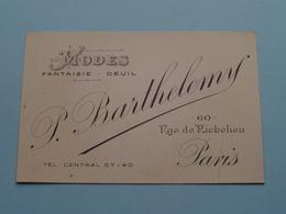 """Modes Fantaisie - Deuil """" P. BARTHELEMY """" 60 Rue De Richelieu PARIS ( Voir / Zie Foto ) ! - Cartes De Visite"""