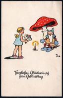 D0103 - IHO Künstlerkarte Geburtstag - Kleines Mädchen Fliegenpilz Zwerg Heinzelmännchen - Cumpleaños