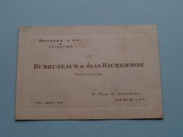 """Bronzes D'Art & Imitation """" DUBRUJEAUD & Jean RICHERMOZ """" 41 Rue St. Sébastien PARIS ( Voir / Zie Foto ) ! - Cartes De Visite"""