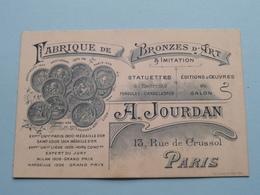 """Manufact. De BRONZES D'ART """" A. JOURDAN """" 13 Rue De Crussol PARIS ( Voir / Zie Foto ) ! - Cartes De Visite"""