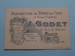 """Manufact. De TISSUS De CRIN """" J. GODET """" 9 Rue De Palestro PARIS ( Voir / Zie Foto ) ! - Cartes De Visite"""