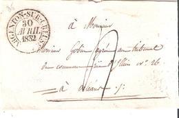 Indre :- ARGENTON SUR CREUSE Dateur Type 13 Taxe 4 Manuscrite - Marcophilie (Lettres)
