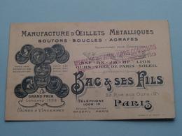 """Manufact. D'Oeillets Metalliques / Boutons/Boucles/Agrafe """" BAC & Ses Fils """" 23 Rue Aux Ours PARIS ( Voir / Zie Foto ) ! - Cartes De Visite"""